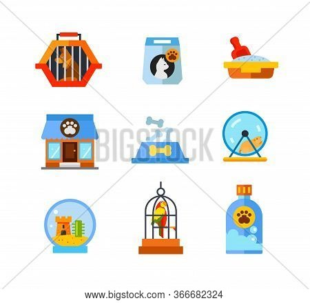 Pet Shop Icon Set. Dog In Pet Travel Crate Cat Food Bag Cat Litter Box Store Building Food Bowl With