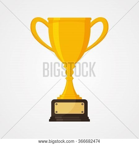 Best Simple Championship Or Competition Trophy. Gold Cup Trophy Icon Symbol In Flat Style. Vector Il