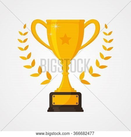 Best Championship Or Competition Trophy With Star. Gold Cup Trophy Icon Symbol In Flat Style. Vector