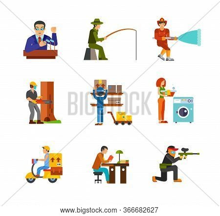 Job Icon Set. Politician Fisherman Fireman Logger Mail Worker Housewife Courier Student Reading Pain