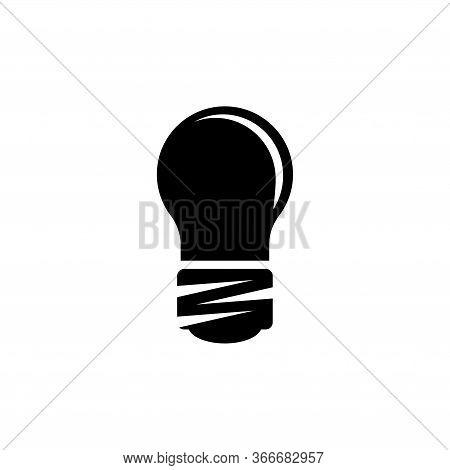 Led Light Bulb, Diode Electric Lightbulb. Flat Vector Icon Illustration. Simple Black Symbol On Whit