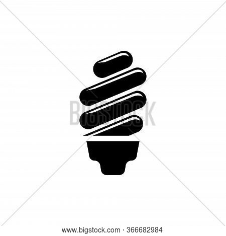 Fluorescent Lamp, Ecological Light Bulb. Flat Vector Icon Illustration. Simple Black Symbol On White