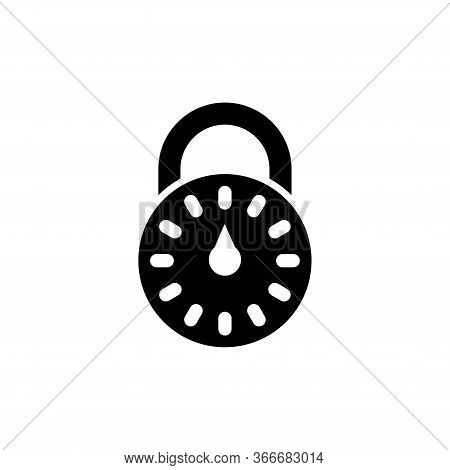 Combination Lock, Password Code Padlock. Flat Vector Icon Illustration. Simple Black Symbol On White