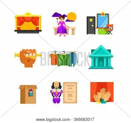 Theatre Performance Icon Set. Stage Opera Actress Back Stage Hand Holding Oscar Stage Costumes On Ha