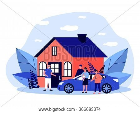 Children And Grandchildren Visiting Grandpa. Country House, Family Meeting At Entrance Flat Vector I