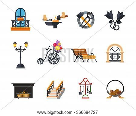 Iron Works Icon Set. Forged Balcony Forging Metal Blacksmith Tools Metal Roses Outdoor Street Lamp F