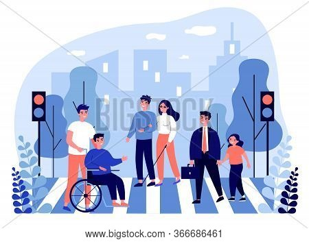 Disabled People Crossing Street. Blind Woman, Wheelchair, Child Flat Vector Illustration. Urban Traf