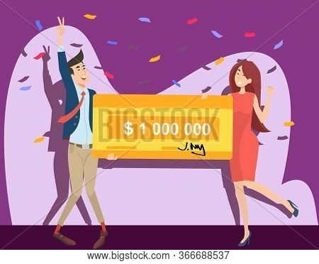 Happy Guy And Girl Winning Million Dollars Flat Vector Illustration. Young Winners Holding Money Ban