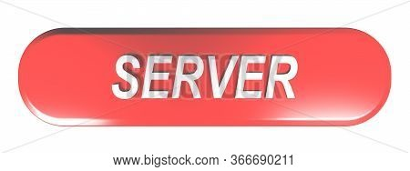Server Red Rounded Rectangle Pushbutton - 3d Rendering Illustration