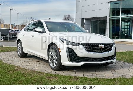 Montreal, Canada - May 2, 2020: New Cadillac 2020 Ct5 350t White Car. Cadillac Is A Division Of The