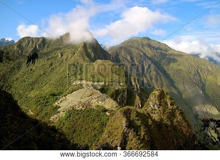 Stunning Aerial View Of The Inca Citadel Ruins Of Machu Picchu View From Huayna Picchu Mountain, Cuz