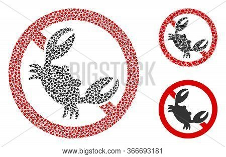 Collage Seafood Free Icon Composed Of Ragged Spots In Random Sizes, Positions And Proportions. Vecto