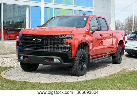 Montreal, Canada - May 2, 2020: Red Chevy Z71 Silverado Car. Chevrolet Colloquially Referred To As C