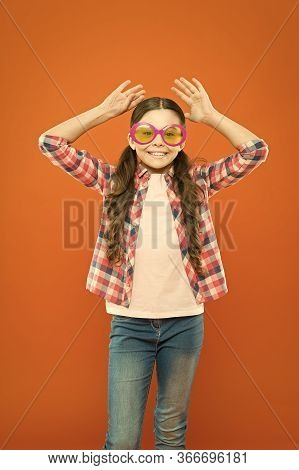Sunglasses Fancy Accessory. Girl Kid Wear Eyeglasses. Optics And Eyesight Treatment. Effective Exerc
