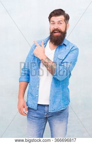 Have You Seen This. Shopping Promotion. Items For Men. Good Looking Guy. Cheerful Hipster. Promoting