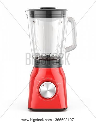 Red Blender appliance with glass container isolated on white background. 3d realistic rendering of electric Blender.