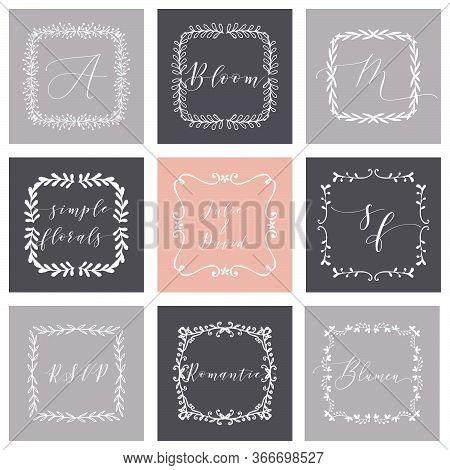 Floral Frame Or Monogram Hand Drawn Element. Doodle Branches Border Illustration For Wedding Invitat