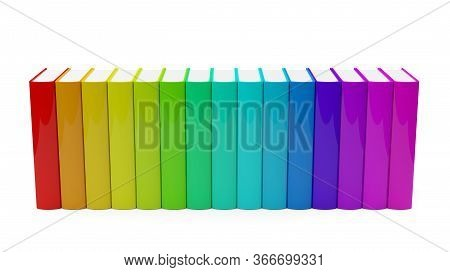 Colorful Rainbow Colored Hardcover Books Row With Blank Covers Over White Background - 3d Illustrati