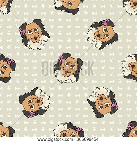 Hand Drawn Cute Rough Collie Breed Dog Face With Pink Bow Seamless Vector Pattern. Purebred Pedigree