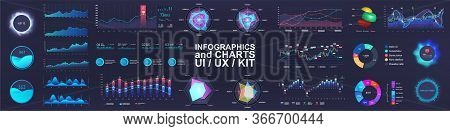 Ui Interface And Intelligent Infographic. Dashboard Template Elements, Charts, Diagrams, Bars Teps,