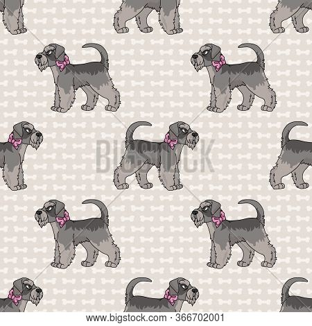 Hand Drawn Cute Schnauzer Breed Dog With Pink Bow Seamless Vector Pattern. Purebred Pedigree Puppy D