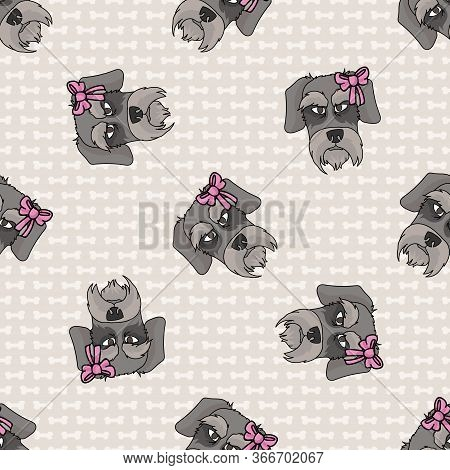 Hand Drawn Cute Schnauzer Breed Dog Face With Pink Bow Seamless Vector Pattern. Purebred Pedigree Pu