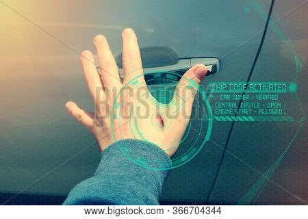 Human Chipping Concept, Rfid Tags. A Male Hand With An Implantable Chip Opens The Door Of A Car, Ton