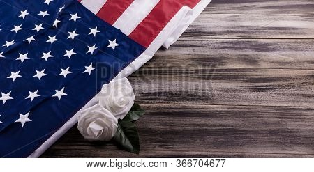 Vintage Red, White, And Blue American Flag For Memorial Day, 4th Of July  Or Veteran's Day With Whit