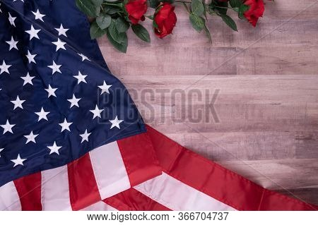 Vintage Red, White, And Blue American Flag For Memorial Day, 4th Of July  Or Veteran's Day With Red
