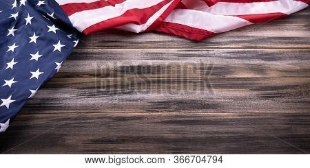 Red, White, And Blue American Flag Background For Memorial Day, 4th Of July  Or Veteran's Day, On A