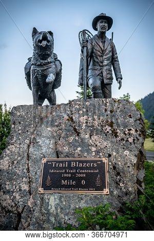 Seward, Alaska - June 7 -a Monument Commemorating The Centennial The Iditarod Called