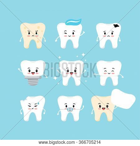 Cute Teeth Emoji Dental Icon Set. Tooth Collection - Plaque, Caries Hole, Implant, Clean Healthy, Cr