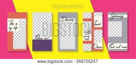 Social Stories Cool Vector Layout. Tech Sale, New Arrivals Story Layout. Blogger Modern Covers, Soci