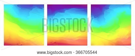 Bright Square Vector Vivid Watercolor Rainbow Colors Blurred Background. Beautiful Colorful Abstract