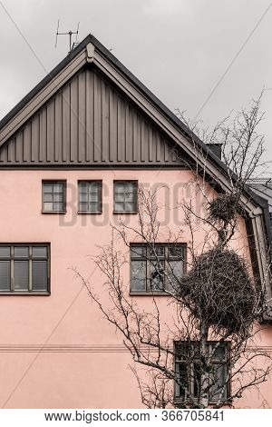 Huge Bird Nest In Front Of A Pink House In A European Town.