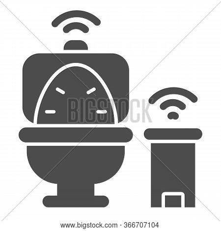 Smart Toilet And Garbage Can Solid Icon, Smart Home Symbol, Remote Control House Technology Vector S