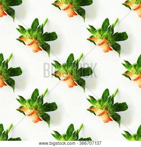 Photographic Collage, Seamless Pattern With Isolated Close Up Green Peduncle Of Eaten Strawberry On
