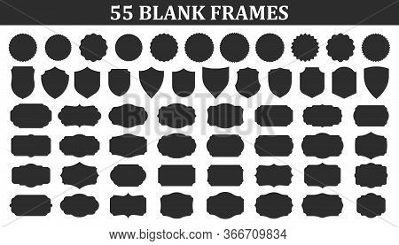 Big Set Of Vintage Blank Frames. Vintage Labels Mega Collection. Sticker. Retro Badge Elements. Vect