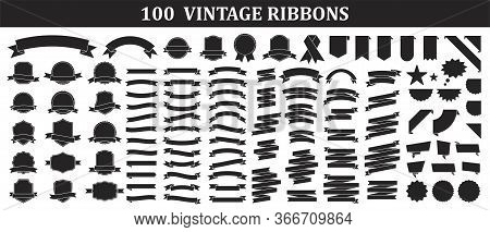 Set Of 100 Ribbons. Ribbon Elements. Starburst Label. Vintage. Modern Simple Ribbons Collection. Vec