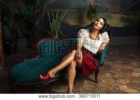 Young Pretty Rich Italian Woman In Golden Luxury Room Interior, Elegant Styled Hotel, People On Vaca