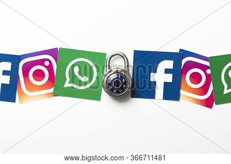London, Uk - February 8th 2019: Facebook, Instagram And Whatsapp Logos On Paper