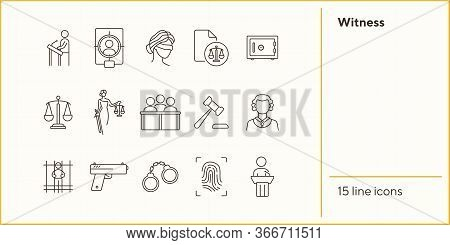 Witness Line Icon Set. Scale, Jury Bench, Judge, Court. Justice Concept. Can Be Used For Topics Like