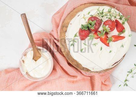 Red Velvet Cake On Wood Board. Strawberry Cake. Devils Cake. Wedding Dessert. Birthday Party. Delici