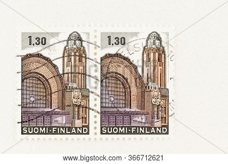 Seattle Washington - May 16, 2020:  1980 Finland Stamp Featuring Helsinki Railway Station Without Gr