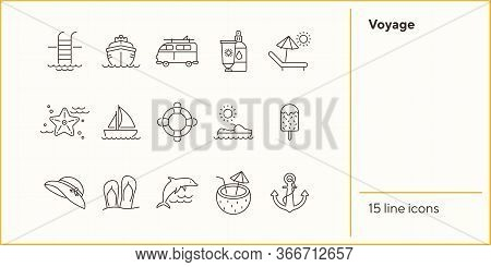 Voyage Line Icon Set. Cruise Liner, Van, Vessel, Ship. Beach Concept. Can Be Used For Topics Like Tr