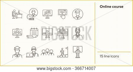 Online Course Line Icon Set. Pupil, Class, Service, Subject. Distant Education Concept Can Be Used F