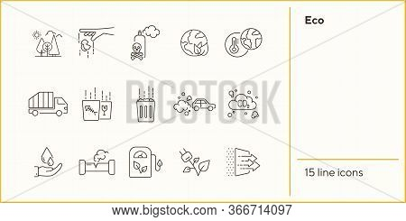 Eco Line Icons. Set Of Line Icons. Filling Station, Planet Heating. Ecology Concept. Vector Illustra