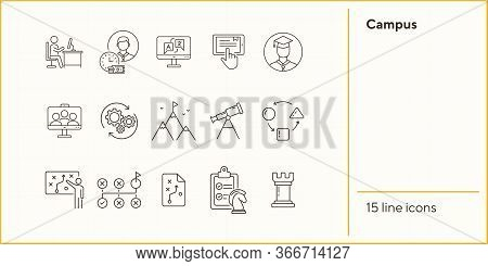 Campus Line Icon Set. Activity, Studying, Gamification. College Life Concept. Can Be Used For Topics