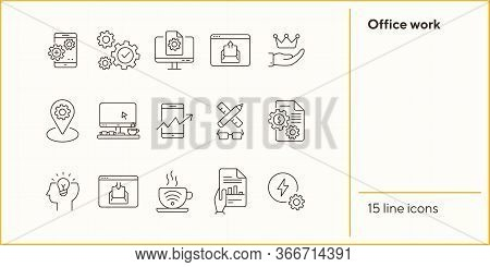 Office Work Icons. Set Of Line Icons. Marketing Planning, Mobile Business, Online Entertainment. Bus