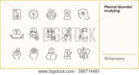 Mental Disorder Studying Line Icon Set. Psychologist, Hypnosis, Metronome. Psychology Concept. Can B